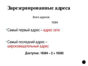 Зарезервированные адреса Самый первый адрес – адрес сети Самый последний адре