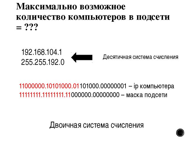 Максимально возможное количество компьютеров в подсети = ??? 192.168.104.1 25...