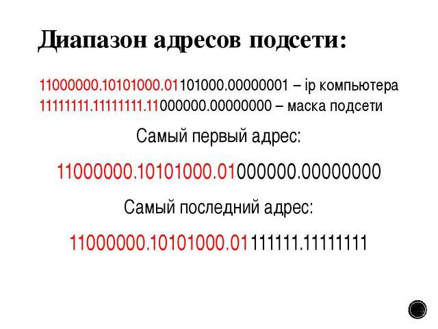 Диапазон адресов подсети: 11000000.10101000.01101000.00000001 – ip компьютера...