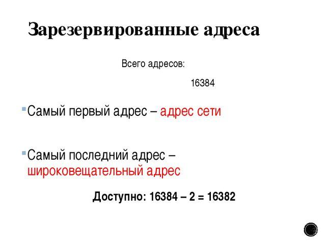 Зарезервированные адреса Самый первый адрес – адрес сети Самый последний адре...