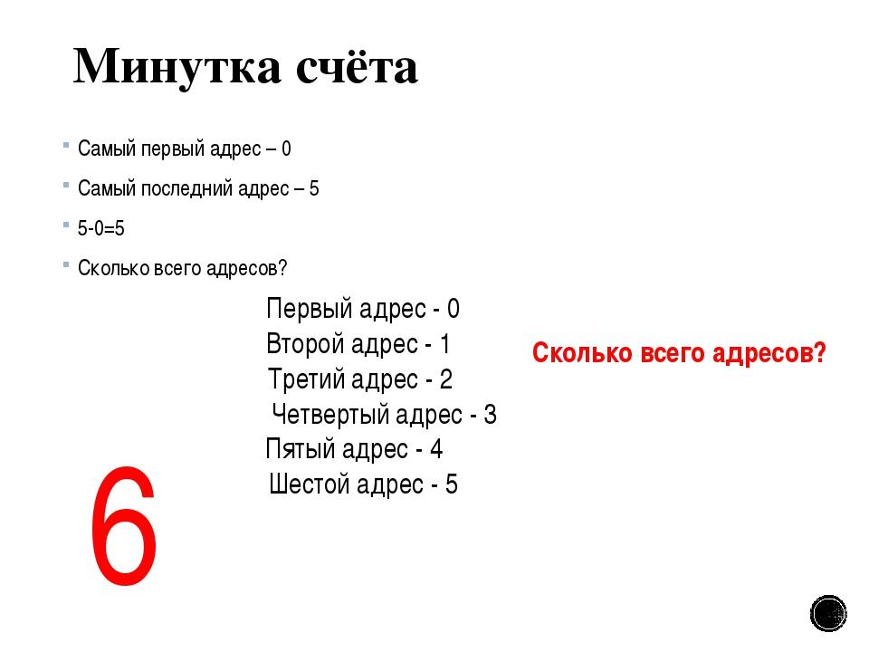 Минутка счёта Самый первый адрес – 0 Самый последний адрес – 5 5-0=5 Сколько...