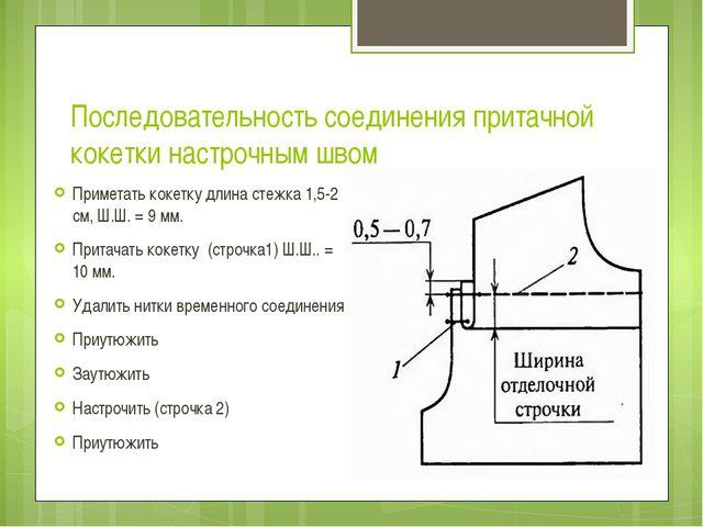 Последовательность соединения притачной кокетки настрочным швом Приметать кок...