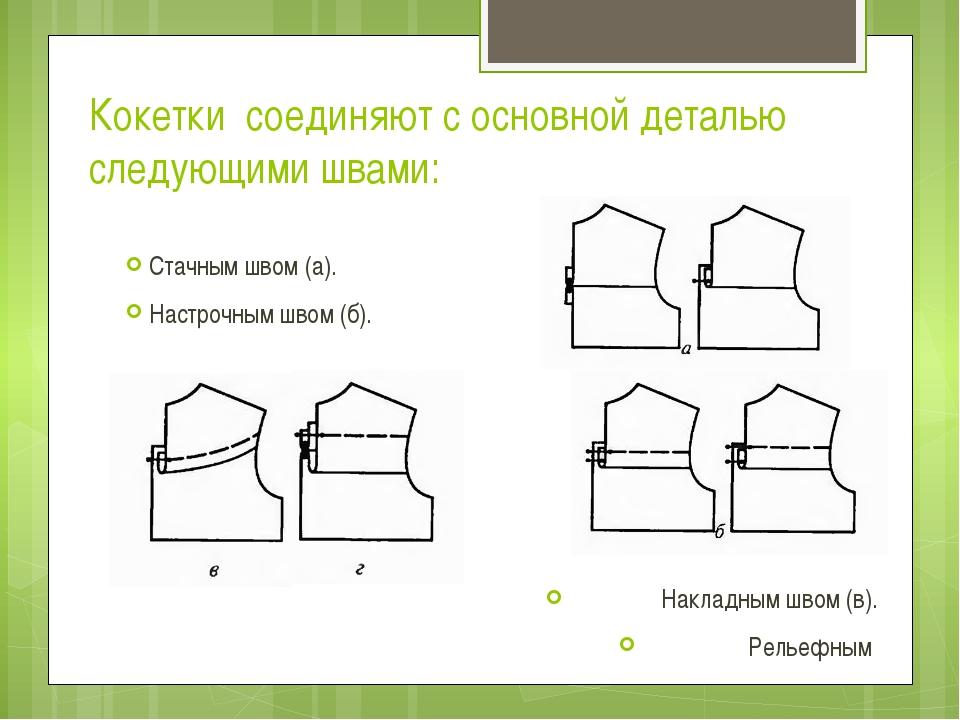 Кокетки соединяют с основной деталью следующими швами: Стачным швом (а). Наст...