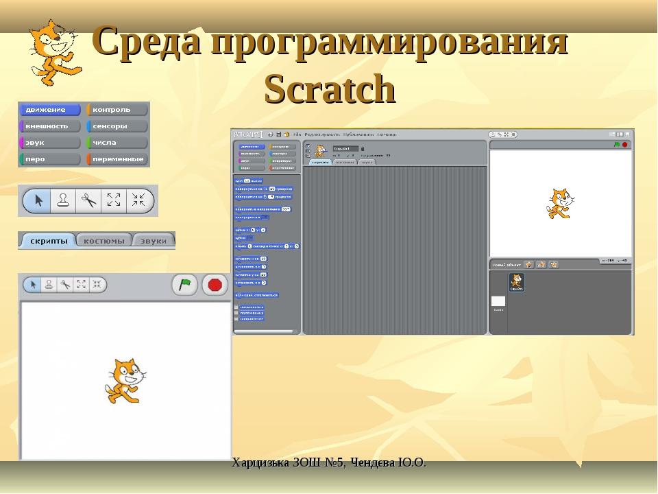 Среда программирования Scratch Харцизька ЗОШ №5, Чендєва Ю.О. Харцизька ЗОШ №...