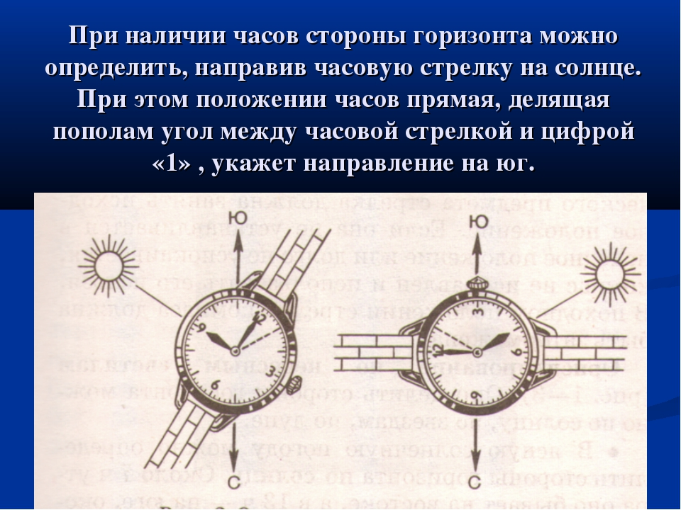 При наличии часов стороны горизонта можно определить, направив часовую стрелк...