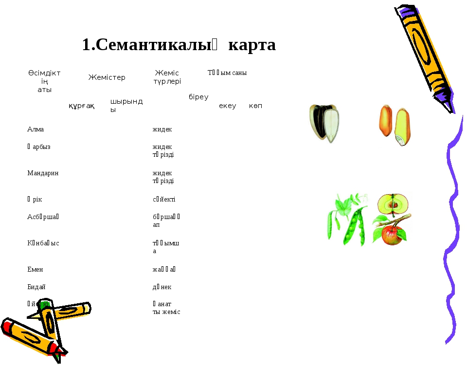 1.Семантикалық карта  Өсімдіктің атыЖемістерЖеміс түрлеріТұқым саны құр...