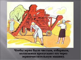 Чтобы зерно было чистым, отборным, колхозники пропускают его через зерноочист