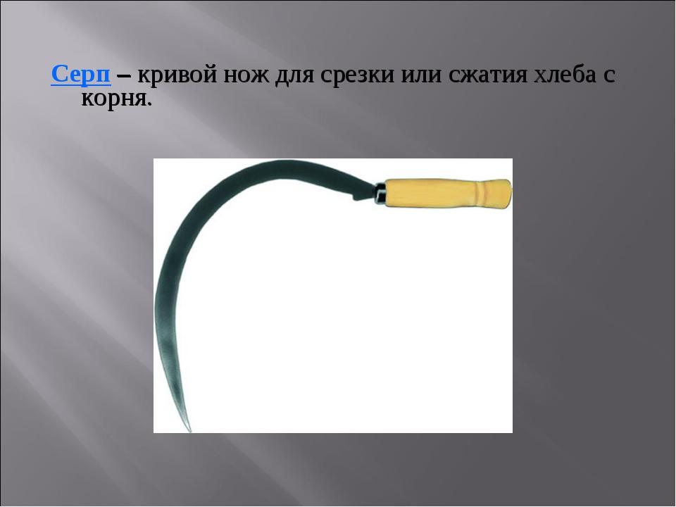 Серп – кривой нож для срезки или сжатия хлеба с корня.