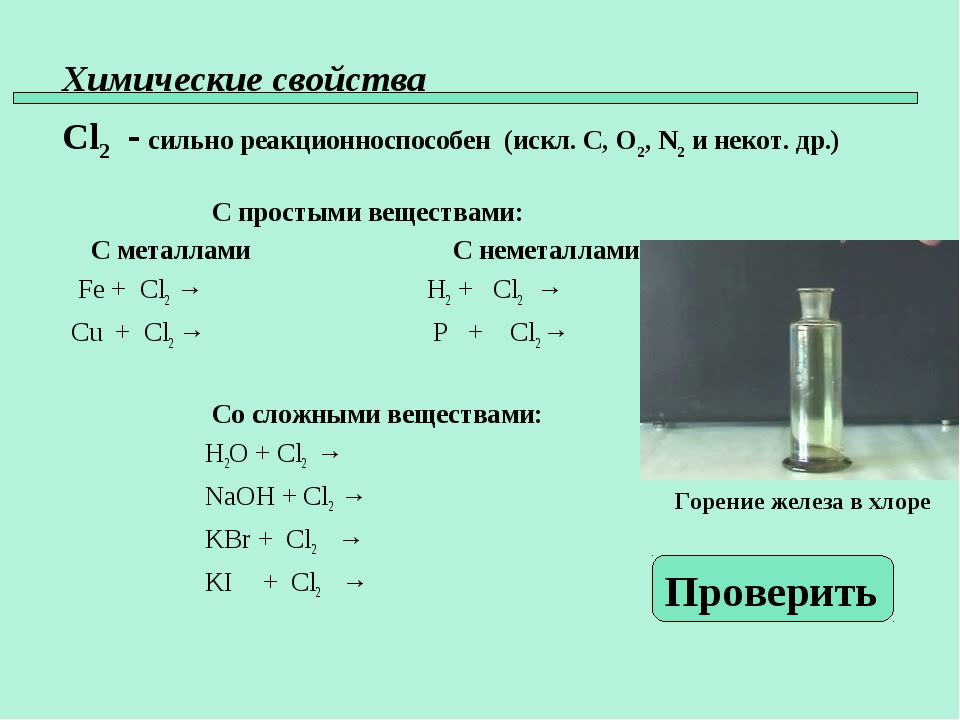 Химические свойства Cl2 - сильно реакционноспособен (искл. C, O2, N2 и некот....
