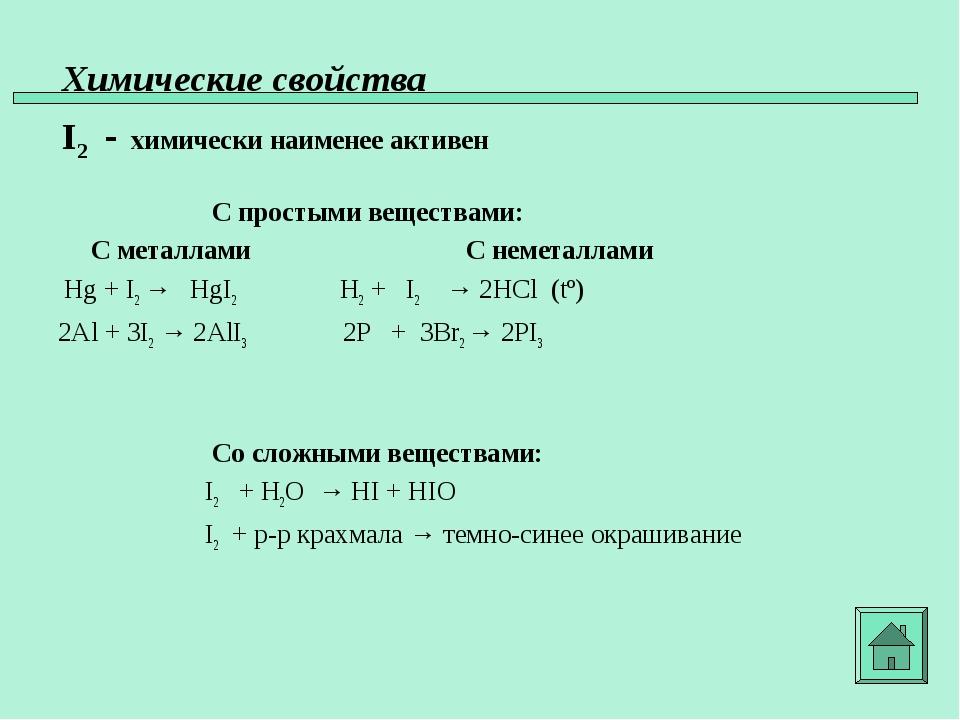Химические свойства I2 - химически наименее активен С простыми веществами: С...