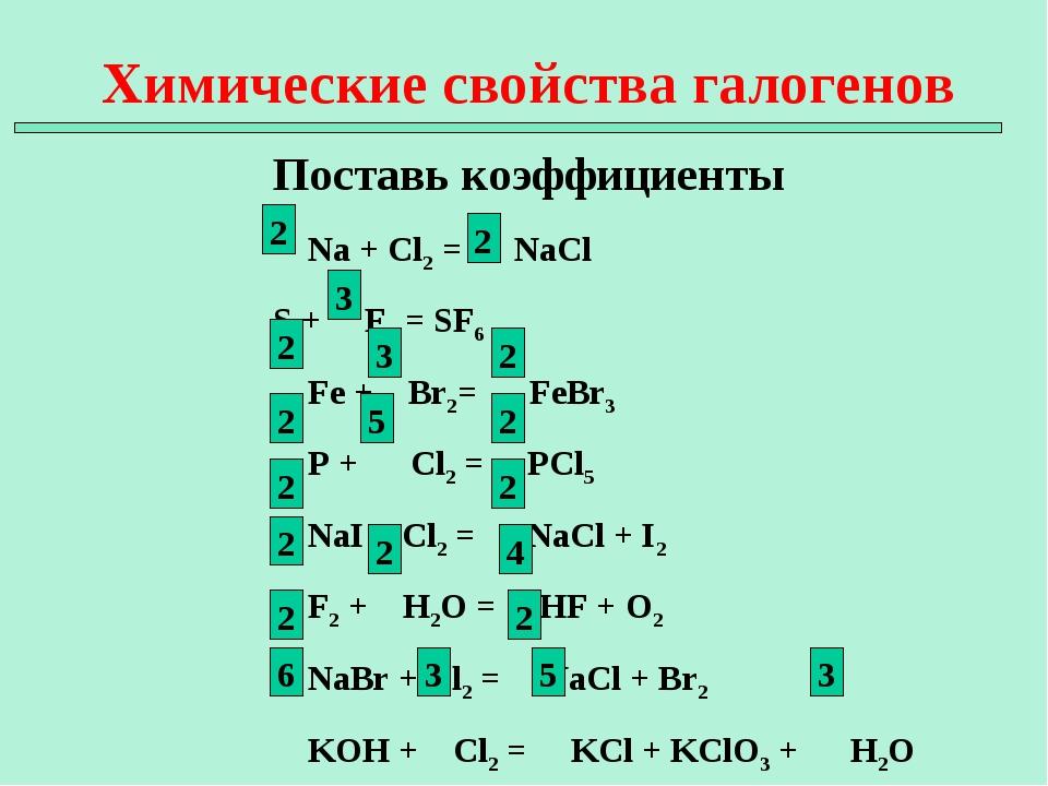 Химические свойства галогенов Поставь коэффициенты Na + Cl2 = NaCl S + F2 = S...