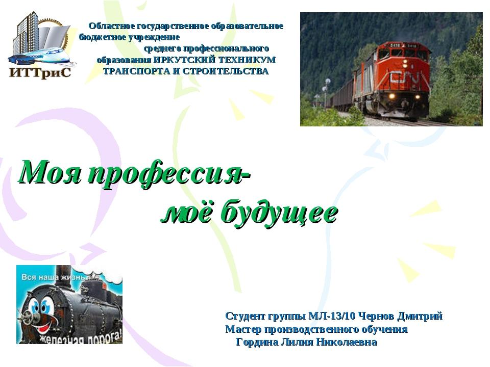 Моя профессия- моё будущее Студент группы МЛ-13/10 Чернов Дмитрий Мастер прои...