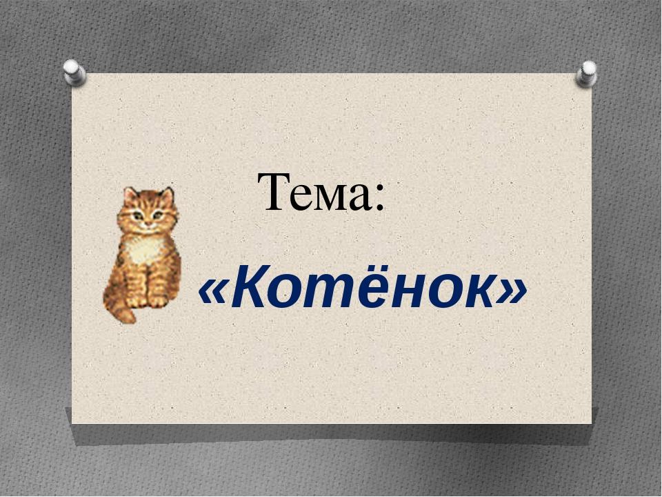 Тема: «Котёнок»