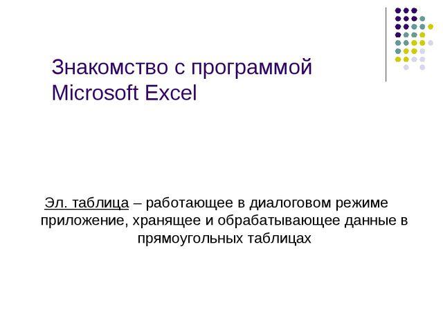 Знакомство с программой Microsoft Excel Эл. таблица – работающее в диалоговом...