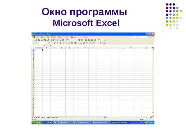 Окно программы Microsoft Excel