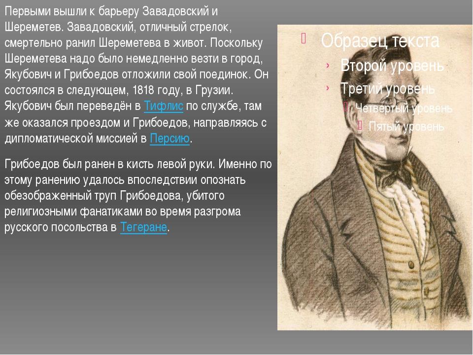 Первыми вышли к барьеру Завадовский и Шереметев. Завадовский, отличный стрело...