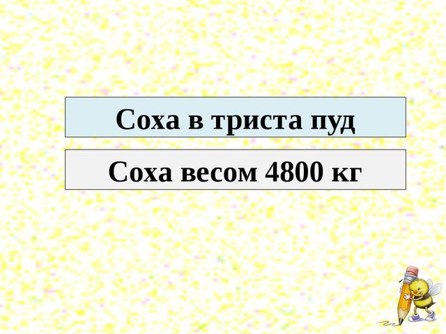 Соха в триста пуд Соха весом 4800 кг