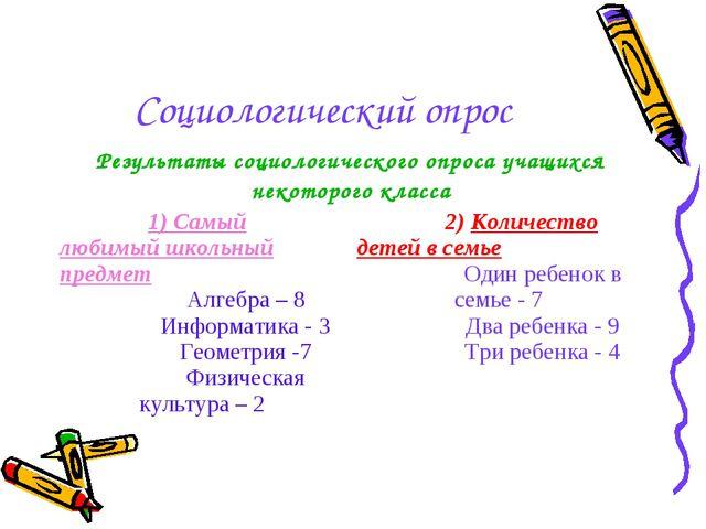 Социологический опрос Результаты социологического опроса учащихся некоторого...
