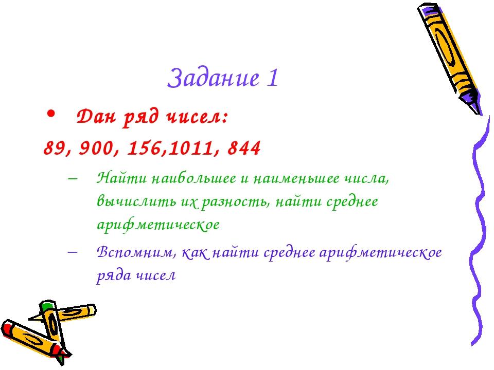 Задание 1 Дан ряд чисел: 89, 900, 156,1011, 844 Найти наибольшее и наименьшее...