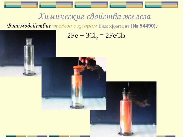 Химические свойства железа Взаимодействие железа с хлором Видеофрагмент (№ 54...