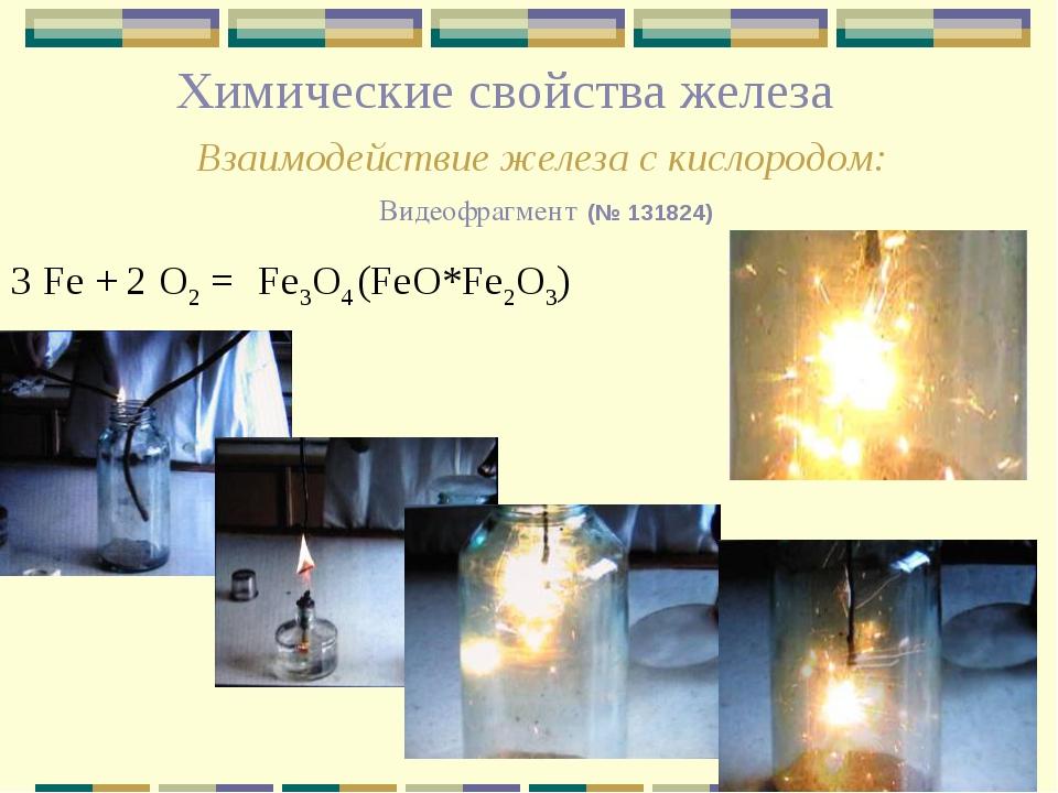 Химические свойства железа Взаимодействие железа с кислородом: Видеофрагмент...