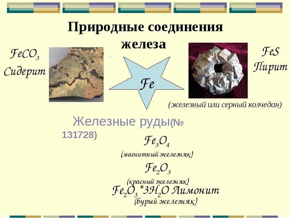 Природные соединения железа Fe FeS Пирит (железный или серный колчедан) FeCO...