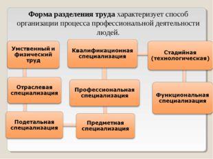 Форма разделения трудахарактеризует способ организации процесса профессионал