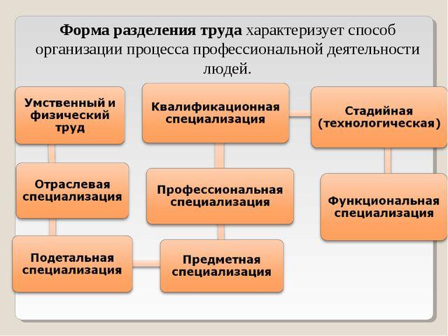 Форма разделения трудахарактеризует способ организации процесса профессионал...