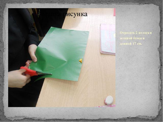 Отрезать 2 полоски зеленой бумаги длиной 17 см.