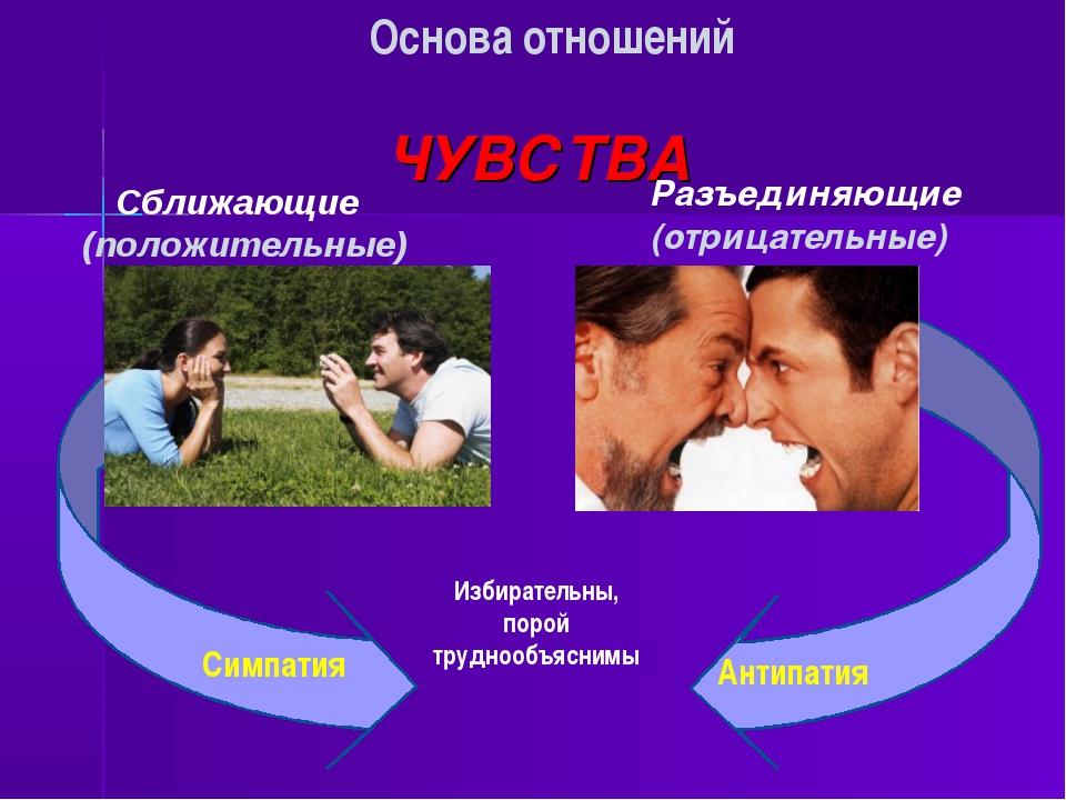 ЧУВСТВА Сближающие (положительные) Основа отношений Разъединяющие (отрицател...