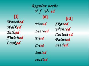 Regular verbs V → V- ed [t] Watched Walked Talked Finished Looked [d] Played