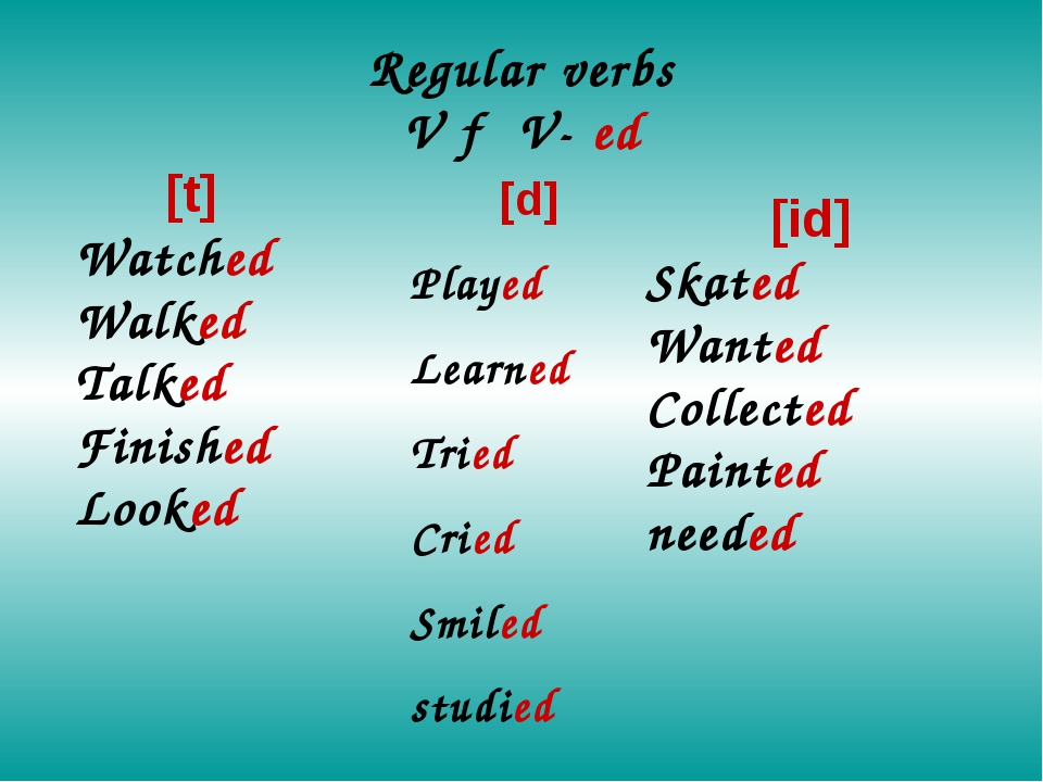 Regular verbs V → V- ed [t] Watched Walked Talked Finished Looked [d] Played...