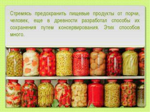 Стремясь предохранить пищевые продукты от порчи, человек, еще в древности раз