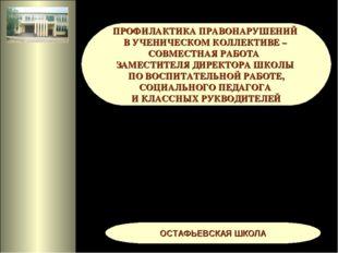 ПРОФИЛАКТИКА ПРАВОНАРУШЕНИЙ В УЧЕНИЧЕСКОМ КОЛЛЕКТИВЕ – СОВМЕСТНАЯ РАБОТА ЗАМ