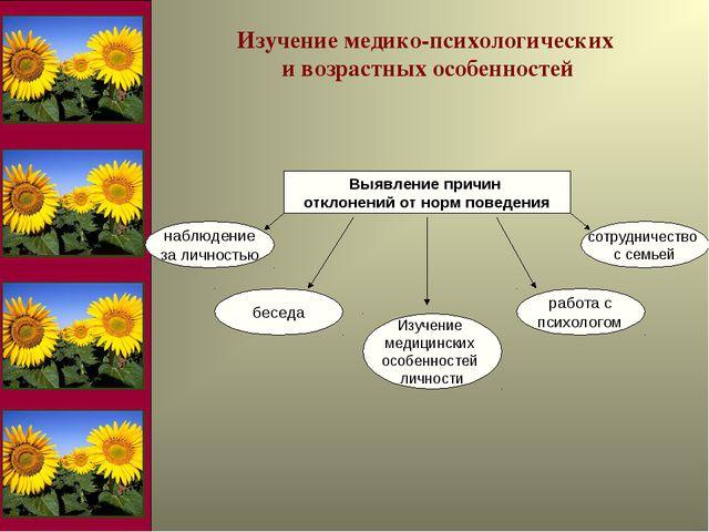 Изучение медико-психологических и возрастных особенностей
