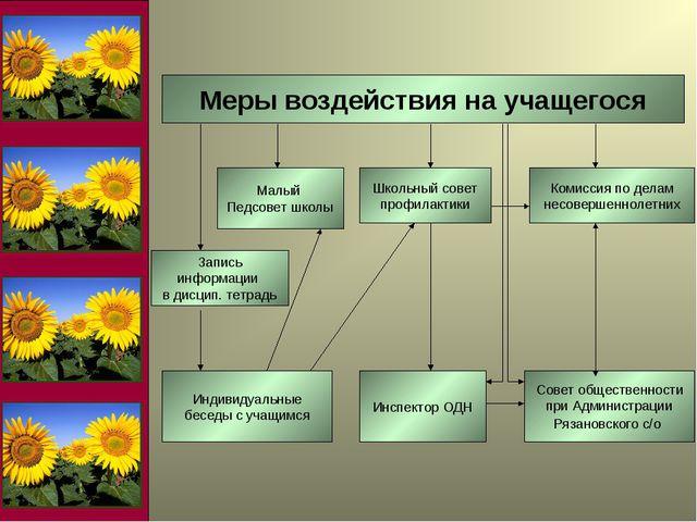Меры воздействия на учащегося Школьный совет профилактики Комиссия по делам н...