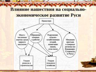 Влияние нашествия на социально-экономическое развитие Руси