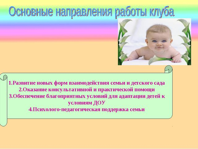 1.Развитие новых форм взаимодействия семьи и детского сада 2.Оказание консуль...