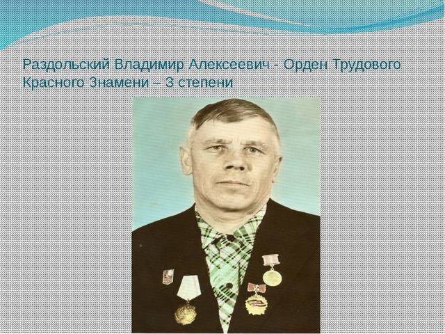 Раздольский Владимир Алексеевич - Орден Трудового Красного Знамени – 3 степени