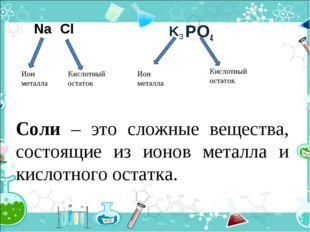 PO4 Ион металла Кислотный остаток Ион металла Кислотный остаток Na Cl K3 Соли