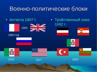 Военно-политические блоки Антанта 1907 г. Тройственный союз 1882 г. 1893 год