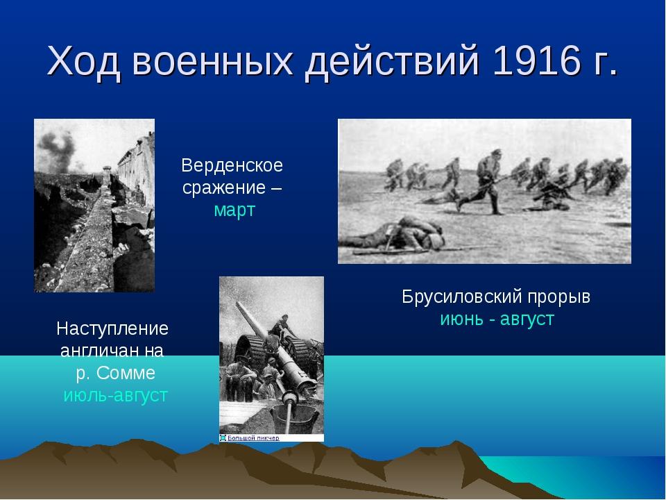 Ход военных действий 1916 г. Верденское сражение – март Наступление англичан...