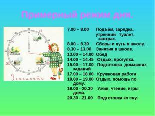 Примерный режим дня. 7.00 – 8.00 Подъём, зарядка, утренний туалет, завтрак