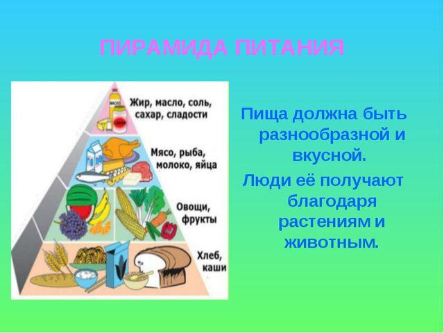 ПИРАМИДА ПИТАНИЯ Пища должна быть разнообразной и вкусной. Люди её получают б...