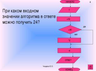 НАЧАЛО +10 -4 *2 ОТВЕТ КОНЕЦ При каком входном значении алгоритма в ответе мо