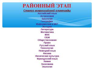 Статус всероссийской олимпиады Английский язык Астрономия Биология География