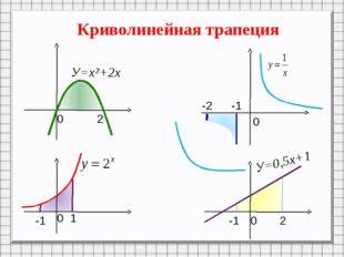 Криволинейная трапеция 0 2 0 0 0 1 -1 -1 2 -1 -2 У=х²+2х У=0,5х+1