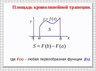 Площадь криволинейной трапеции. где F(x) – любая первообразная функции f(x).