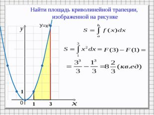 Найти площадь криволинейной трапеции, изображенной на рисунке 0 1 3 У=х² 1 Р