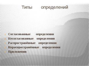 Типы определений Согласованные определения Несогласованные определения Распро
